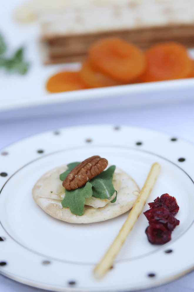 Herb cheese + arugula + apricot appetizer!