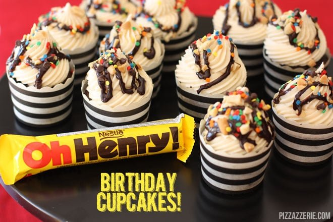 "{Recipe} ""Oh Henry"" Candy Bar Birthday Cupcakes!"