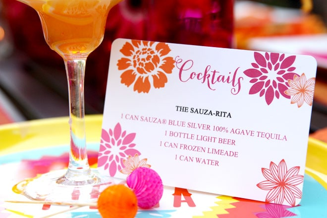 Festive Cinco de Mayo Girl's Night Party with Free Printables! Orange + Pink on Pizzazzerie.com