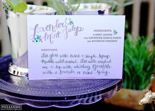 Lavender Mint Julep Cocktail Card *Free Printable* for Derby Day Cocktail!