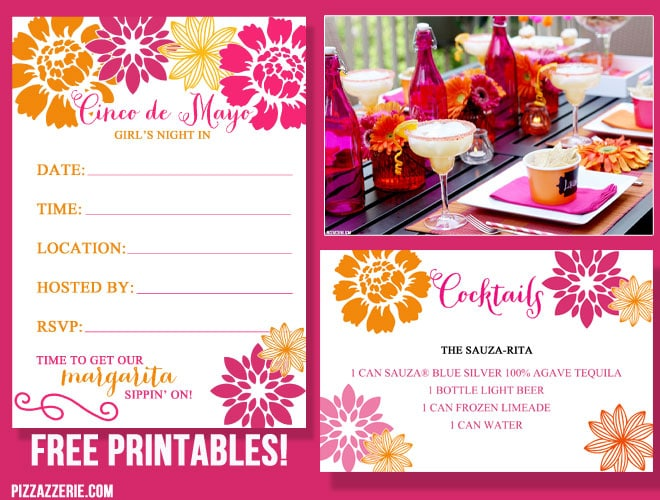 Free Cinco de Mayo Printable Invitation + Cocktail Card! Inspiration!