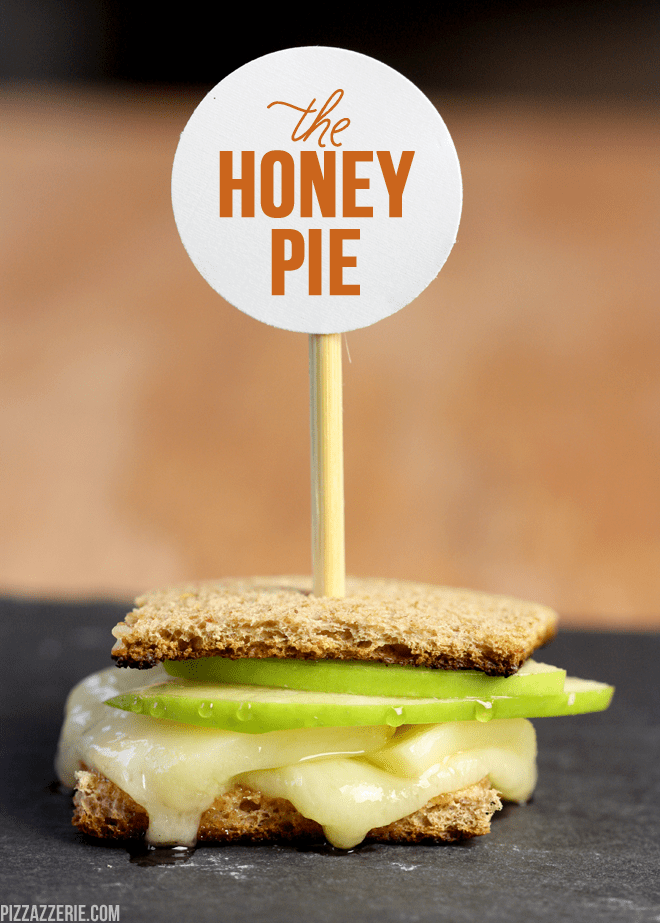 "The ""Honey Pie"" gourmet mini grilled cheese by pizzazzerie.com #recipe #grilled #cheese"