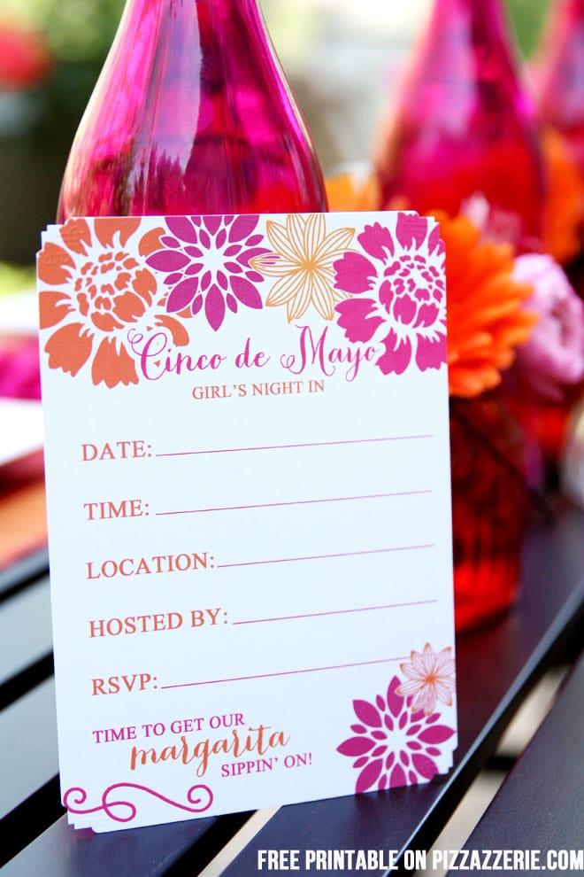 Free Printable Cinco de Mayo Party Invitation on  Pizzazzerie.com #party