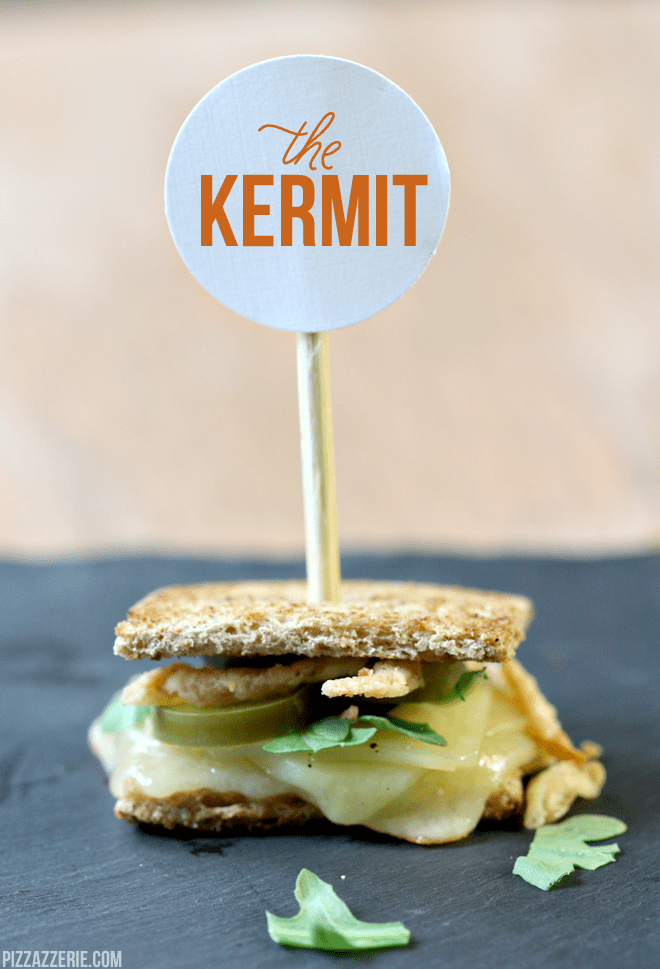 """The """"Kermit"""" mini gourmet grilled cheese by pizzazzerie.com #recipe #party #food"""