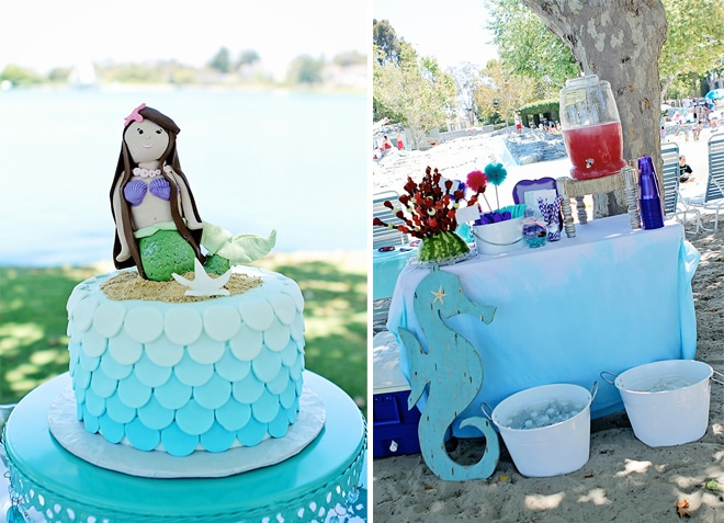 Ombre Mermaid Birthday Party on pizzazzerie.com #birthday #party