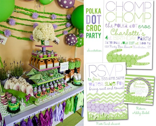 Polka Dot Crocodile Party on pizzazzerie.com #birthday #party