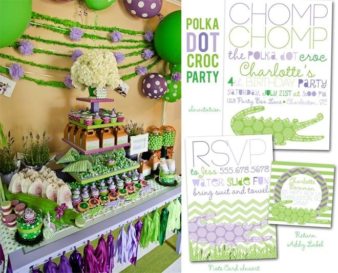 Polka Dot Crocodile Party on pizzazzerie.com #birthday #party