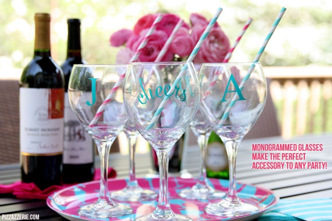 How to make monogrammed cocktail glasses perfect for any party! #diy