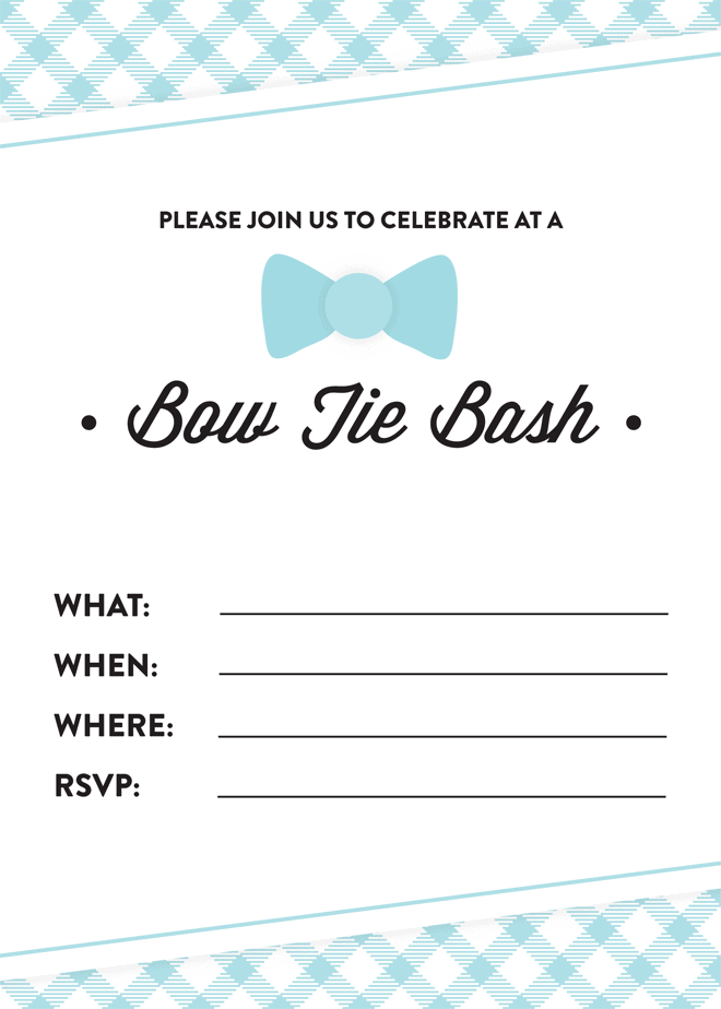 Free Printable Bow Tie Bash Invitation! Pizzazzerie.com