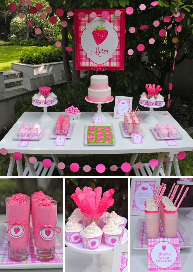 Sweet Pink Lime Strawberry Birthday Party Pizzazzerie