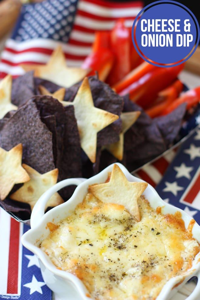 4th of July Appetizer Recipe: Chips & Cheese Dip!
