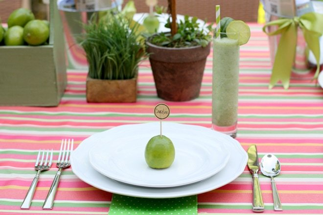 Limes make a simple place card for summer garden parties!