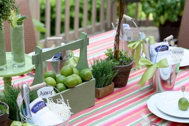 Host an al fresco summer garden dinner party with fresh limes and basil centerpieces!