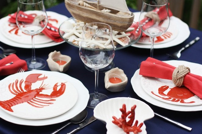 Nautical Cape Cod Tablescape with Dishes from World Market