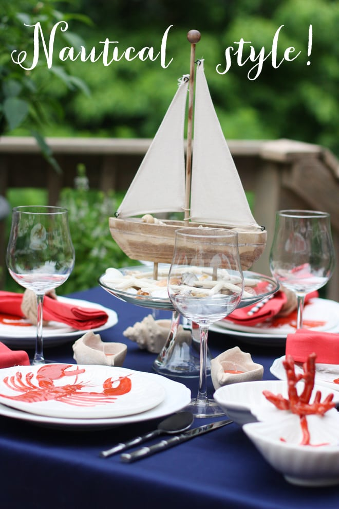 Nautical Cape Code Tablescape by Courtney Whitmore of Pizzazzerie.com
