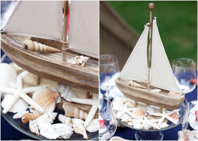 Nautical Sail Boat Sea Shell Centerpiece