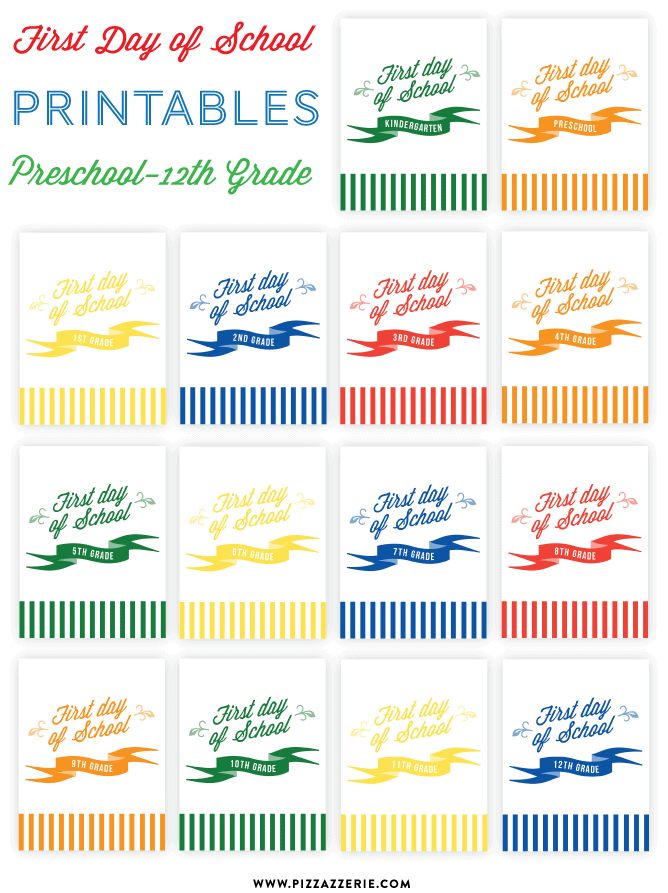 {FREEBIE} First Day of School Printables - Preschool through 12th Grade!