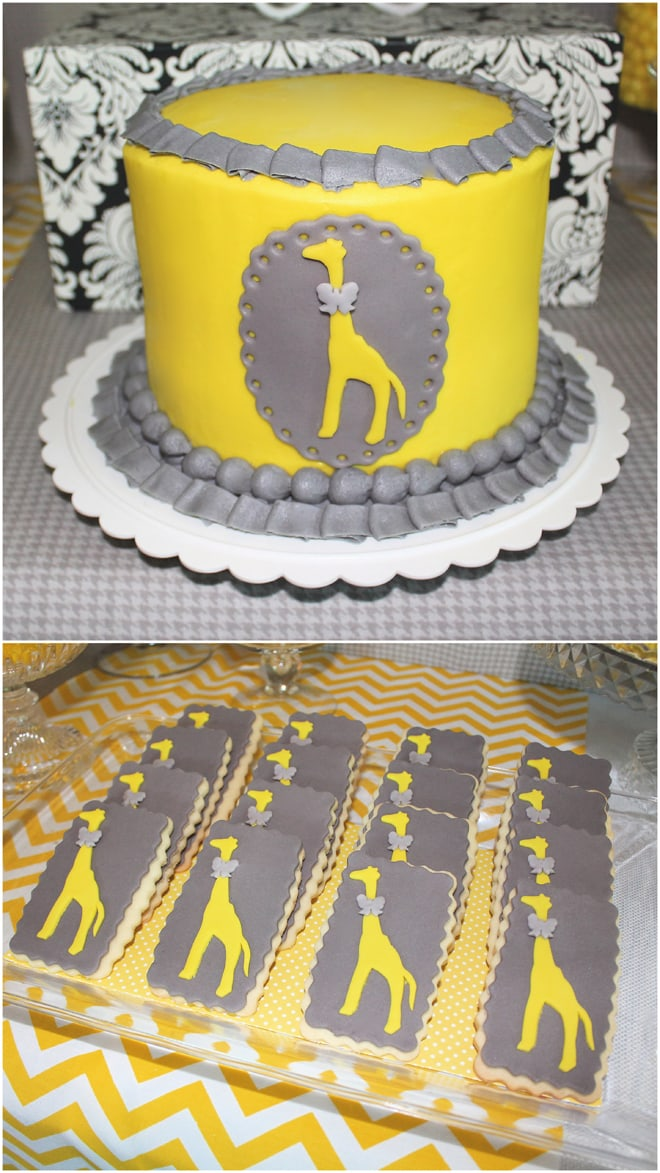 CUTEST Yellow & Grey Modern Giraffe Birthday Party Details and Inspiration!