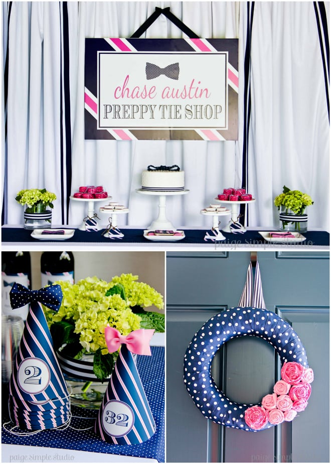 Adorable Pink & Navy Preppy Tie Party!