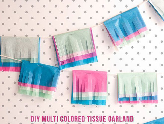 DIY Multi Colored Tissue Garland!