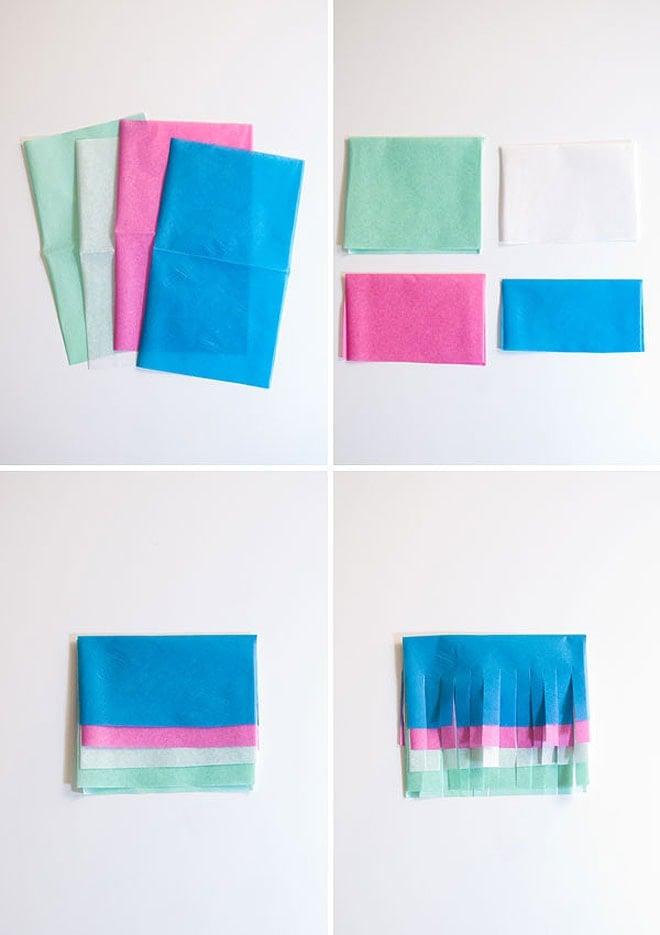 Diy multi colored tissue garland pizzazzerie for Diy colored paper