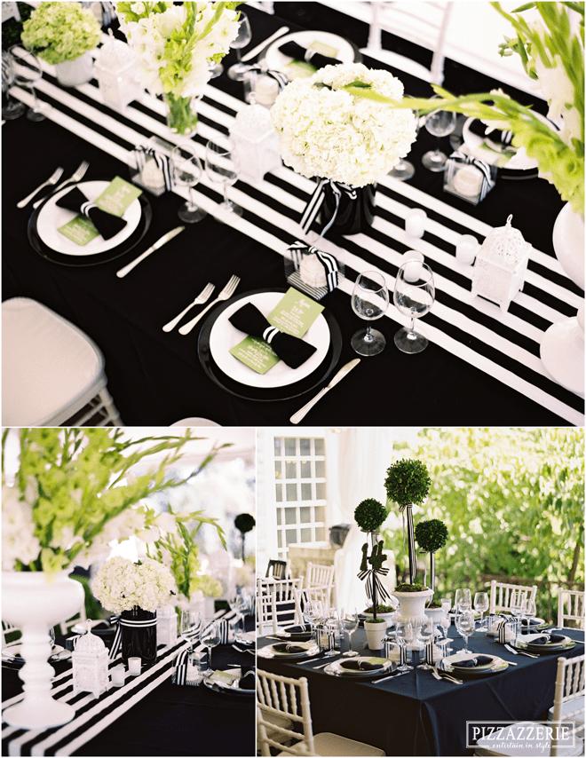 Black & White Striped Tablescape Wedding