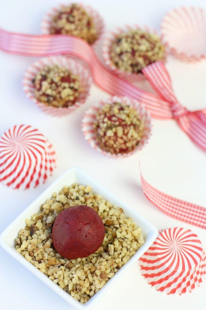 Red Velvet Walnut Truffles