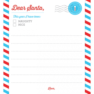 "FREE ""Dear Santa"" Stationery Download from Pizzazzerie.com!"