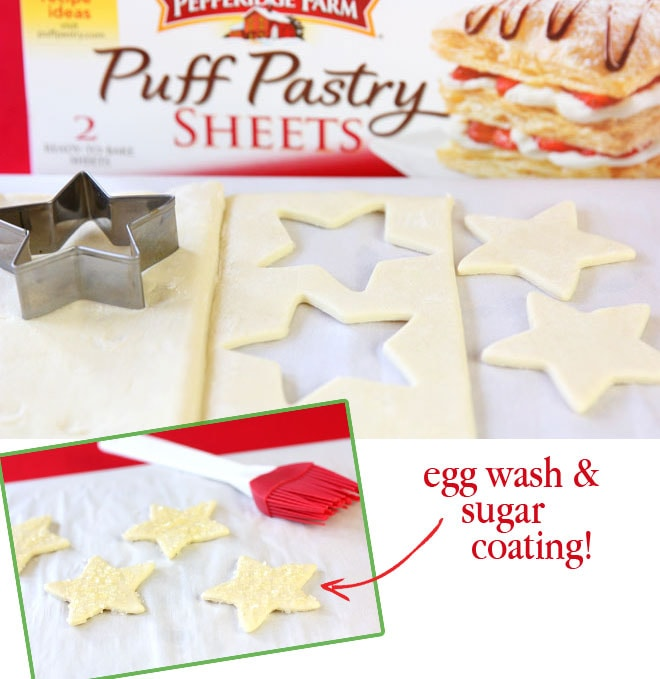 Egg Wash on Sugared Puff Pastry Stars!
