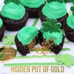 St. Patrick's Day Hidden Pot of Gold Brownie Cups!