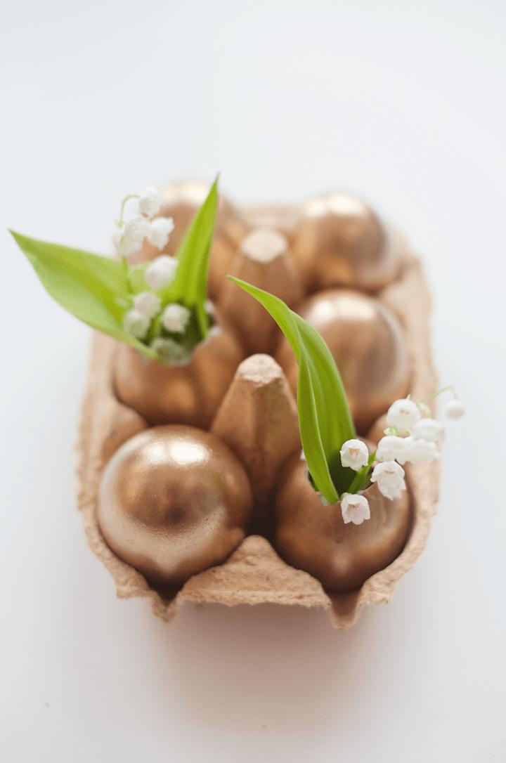 Golden Easter Egg Bud Vase