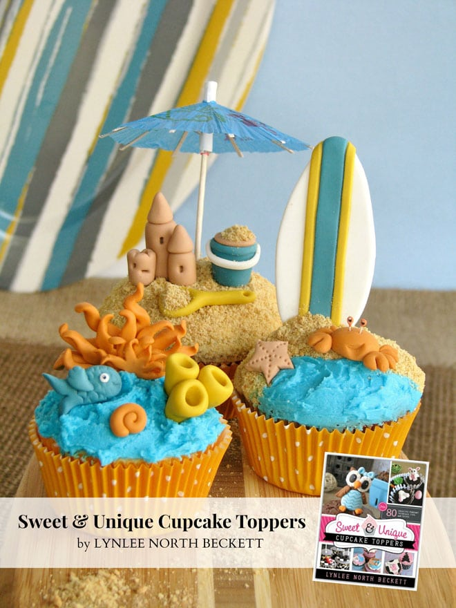 Surfing Beach Themed Cupcake Toppers