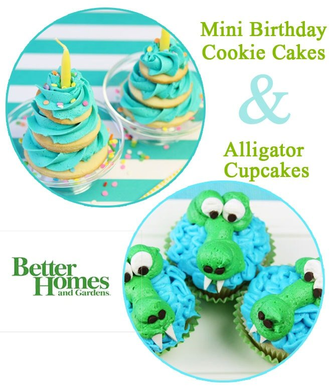 Sweet Treats - Mini Birthday Cookie Cakes & Alligator Cupcakes by Pizzazzerie.com for BHG