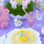 Purple and yellow Easter brunch table