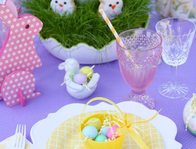 A Bright Purple Easter Tablescape