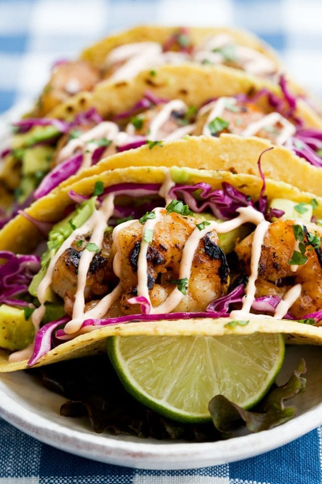 Honey Lime Tequila Shrimp Tacos with Avocado! Perfect for Cinco de Mayo