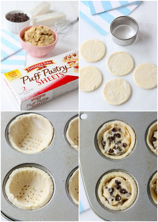 Step by Step Chocolate Chip Cookie Dough Pastries