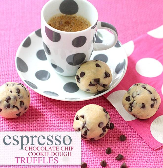 Espresso Chocolate Chip Cookie Dough Truffles! SO GOOD!