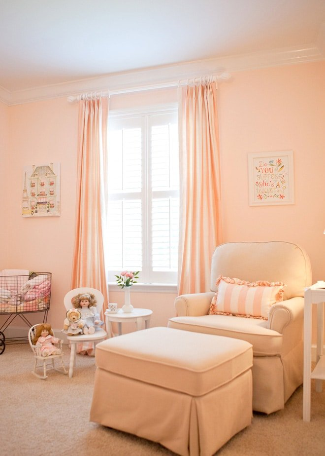 Soft Peachy Pink Striped Baby Girl Nursery!
