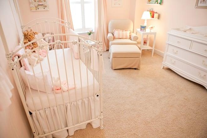 Soft Peachy Pink Striped Baby Girl Nursery!