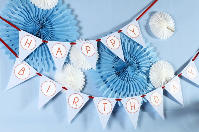 Red and Blue Boy's 2nd Birthday Party Banner