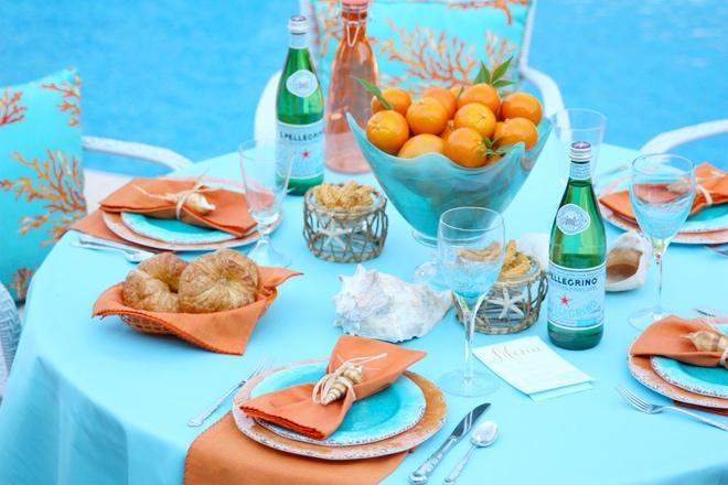 Coral and Aqua Summer Tablescape