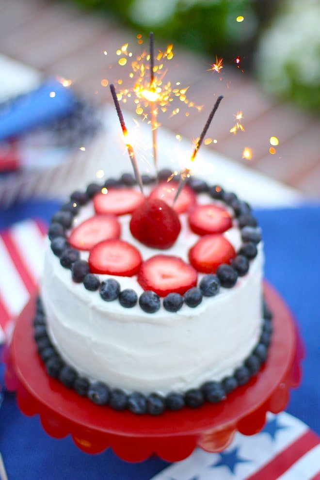 Sparkler Cake for the 4th of July Pizzazzerie
