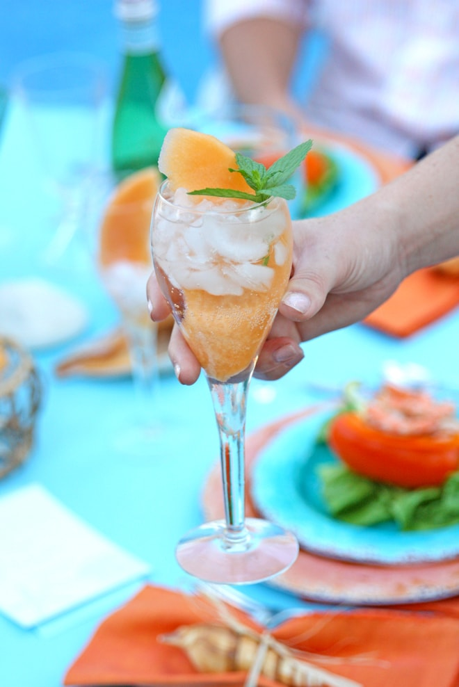 Sparkling Water with sliced melon!