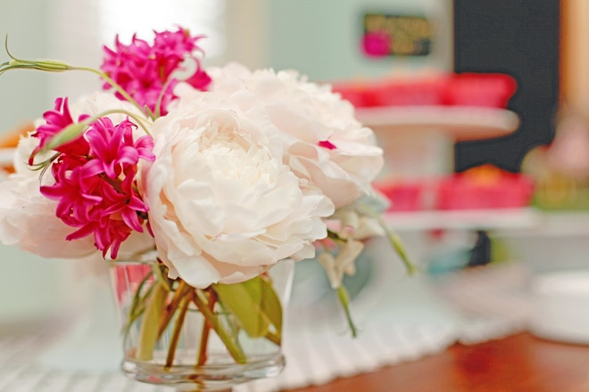 Gorgeous flowers at birthday party