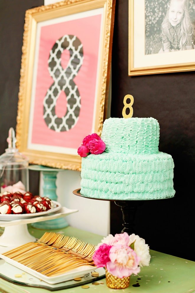 Adorable Mint + Pink Cake Decorating Themed 8th Birthday