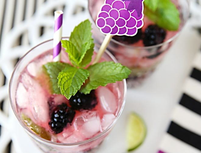 Blackberry Mojitos + Free Printable Stir Sticks!