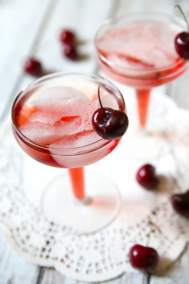 Cherry Mimosas that are my new favorite party cocktail!