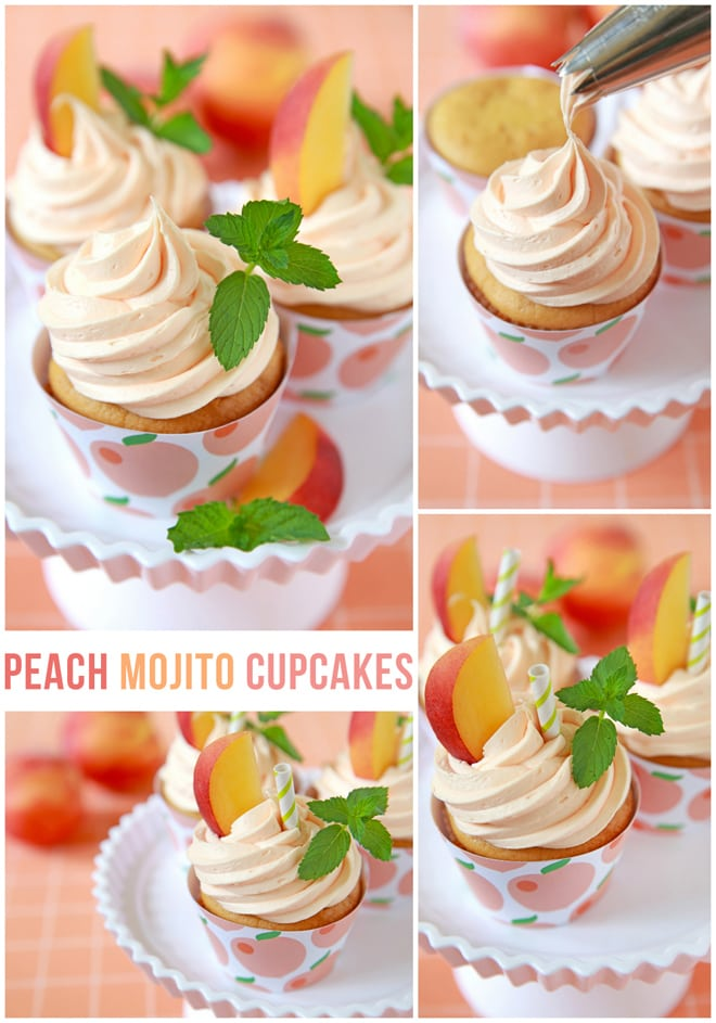 Make the most amazing peach mojito cupcakes and print off a free cupcake wrapper to match! This recipe is easy, so delish, and pretty too!