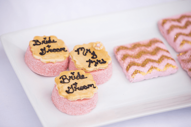 One of my favorite treats are the chocolate covered Oreos! I can eatthem all day long. I love how Christina of Sweets and Treats DesignStudio added sparkling pink sugar and a golden fondant top.